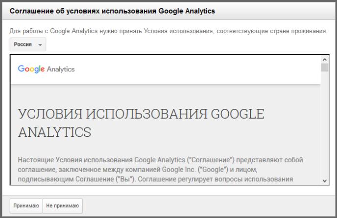 Соглашение об условиях использования Google Analytics